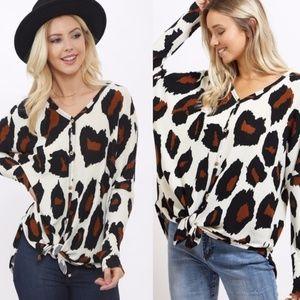 DAYANA Leopard Print Front Tie Button Down Top